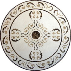 Round Mosaic Marble Floor Medaliony Polished Solid Surface Standard