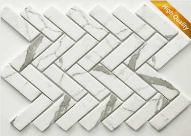 White Cararra Marble Mosaic Tile Fish Bone Shaped 31 X 98 X 6 mm Chip Size