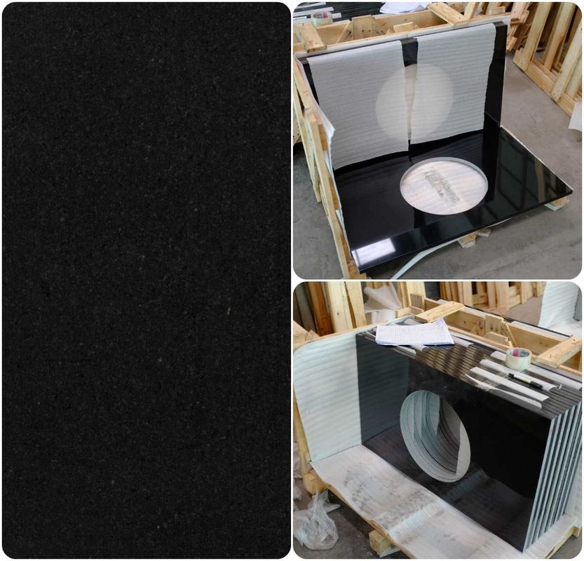 Black Natural Granite Countertops , High Density Solid Black Granite Countertops