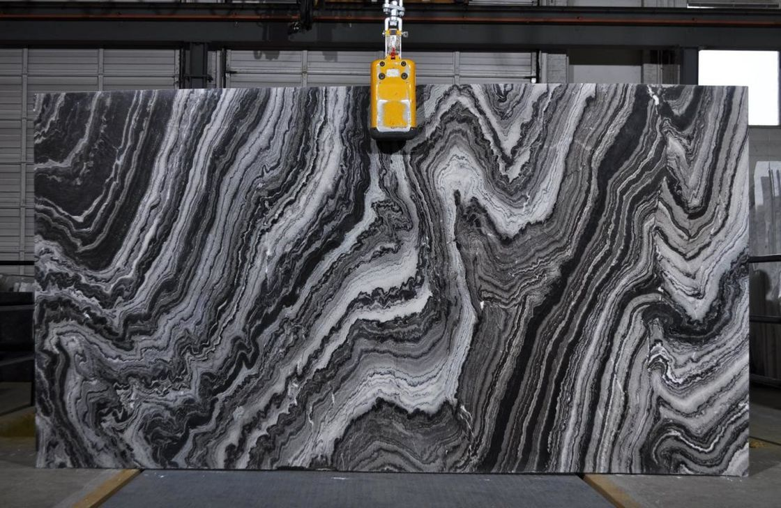 River Wave Spray Black & White Natural Marble Tile Slab For Interior Design